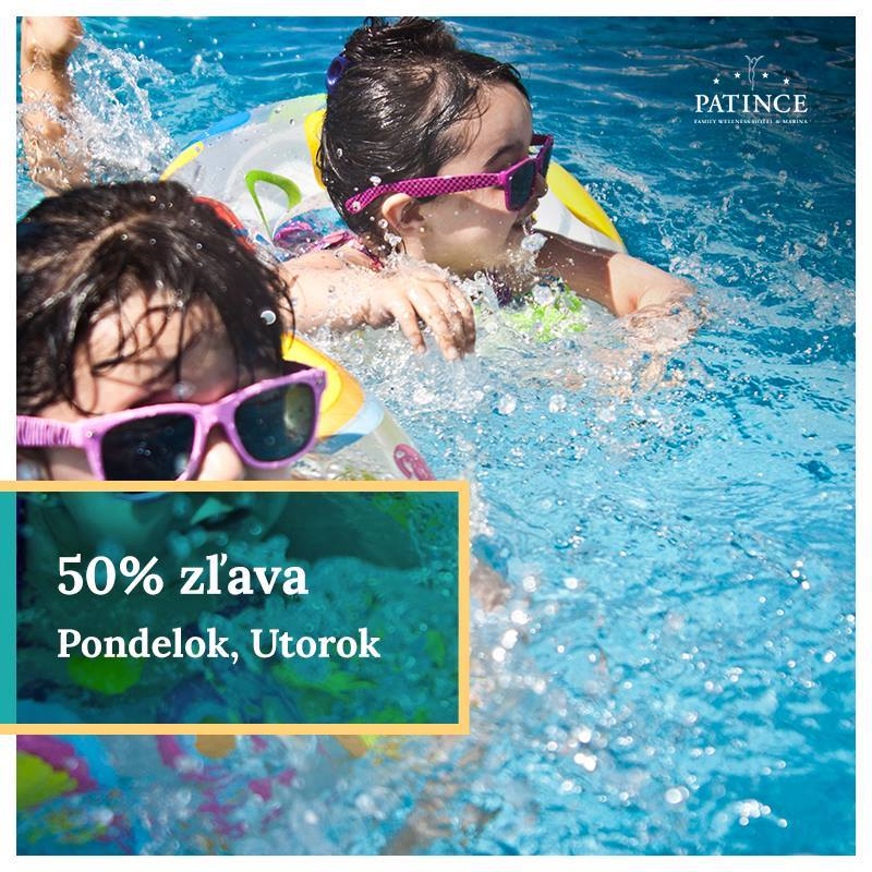 50% zľava na celodenné vstupy v PONDELOK a UTOROK